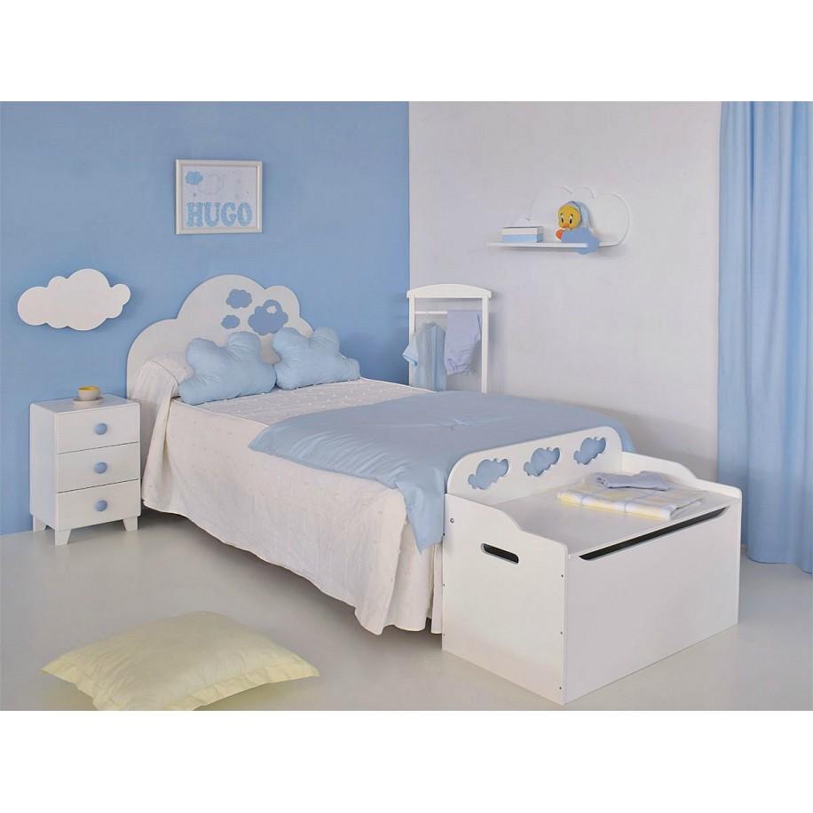 Table de chevet enfant avec 3 tiroirs Piccolo chambre bleue