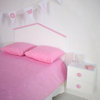 Tête de lit enfant Cabane rose