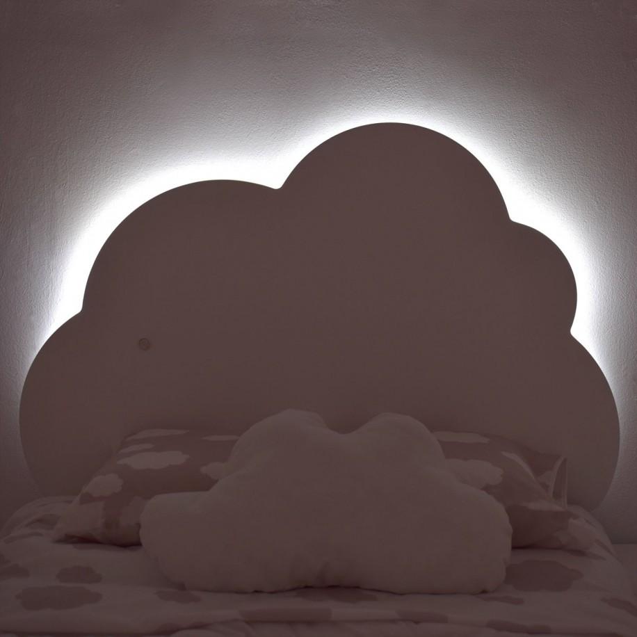 Tête de lit pour enfant Nuage avec de la lumière