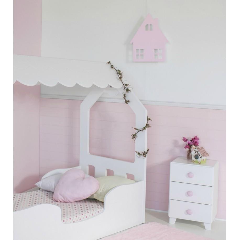 Table de chevet enfant avec 3 tiroirs Piccolo chambre rose