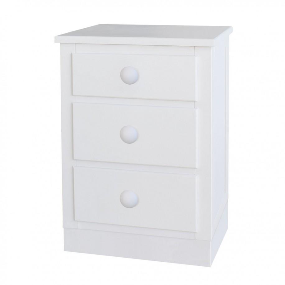 Table de chevet enfant avec tiroirs Socle Rond blanc