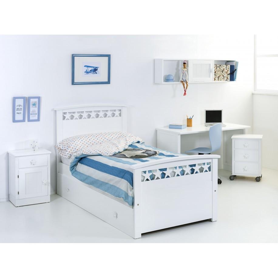 Caissons de rangement blancs pour bureau enfant bleu