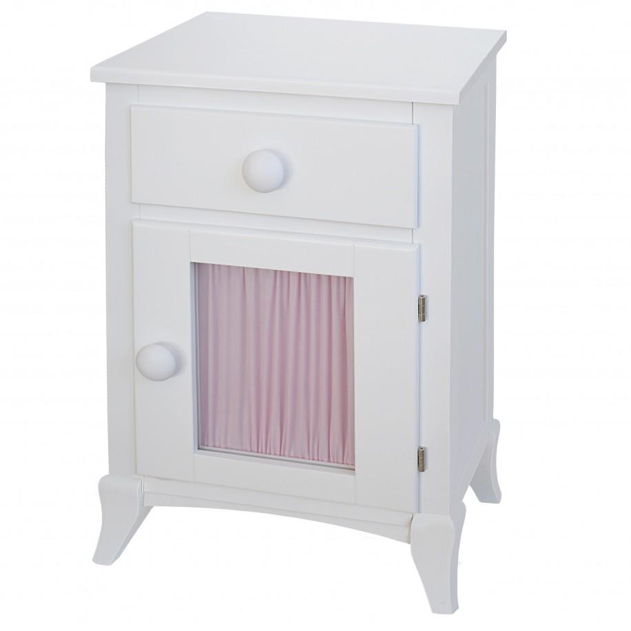 Table de chevet enfant avec porte et rideau rose, poignée rond blanc
