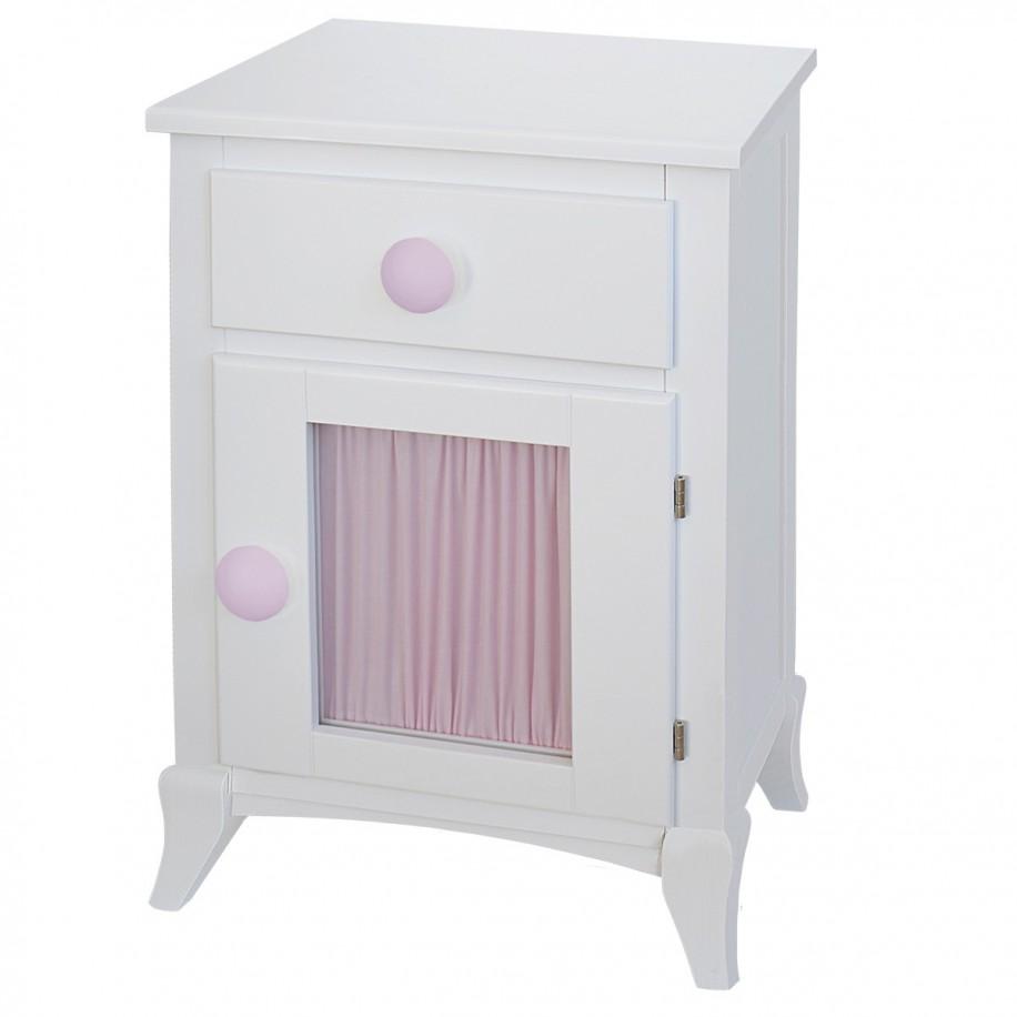 Table de chevet enfant avec porte et rideau rose, poignée rond rose