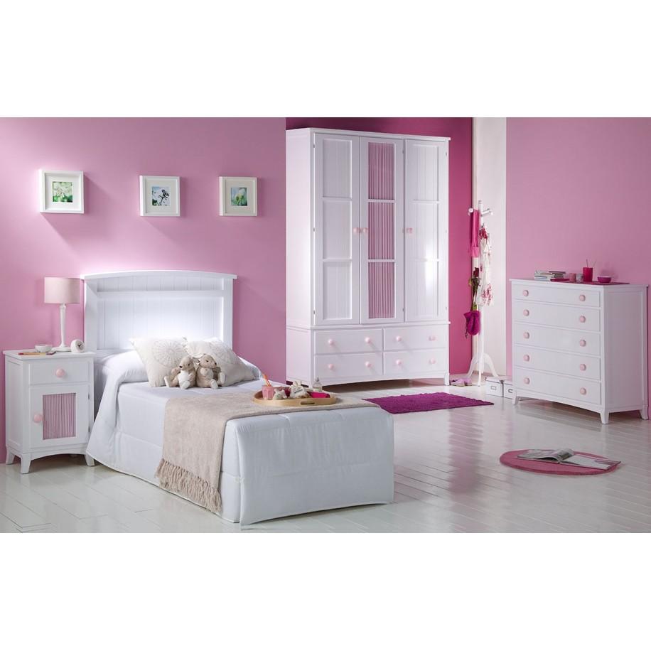 Chambre pour enfant avec table de chevet enfant tiroir + porte + rideau