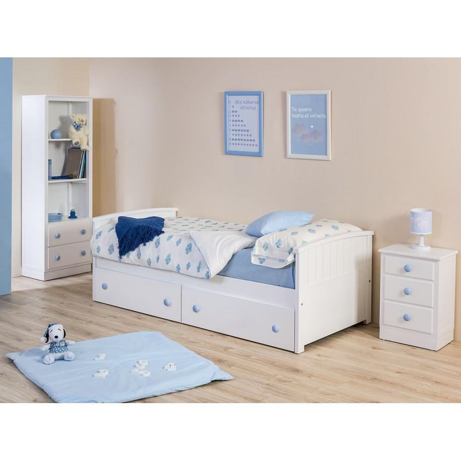Chambre avec table de chevet enfant avec tiroirs Socle