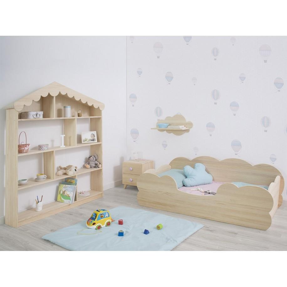 Chambre avec Étagère enfant Cabane en bois naturel