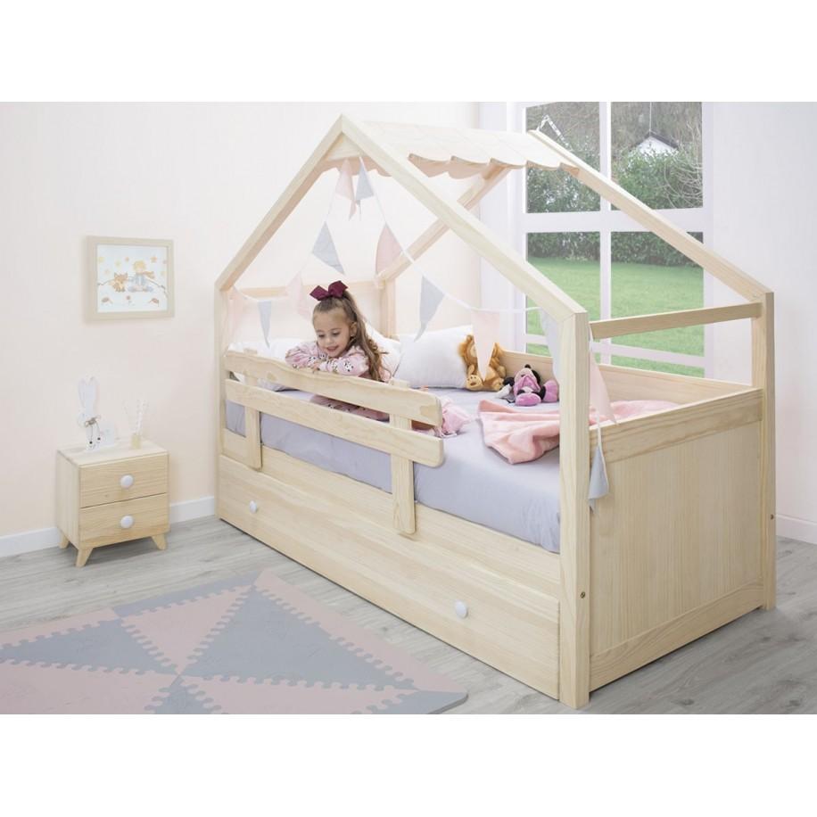 Table de chevet enfant Piccolo 2 tiroirs en bois naturel
