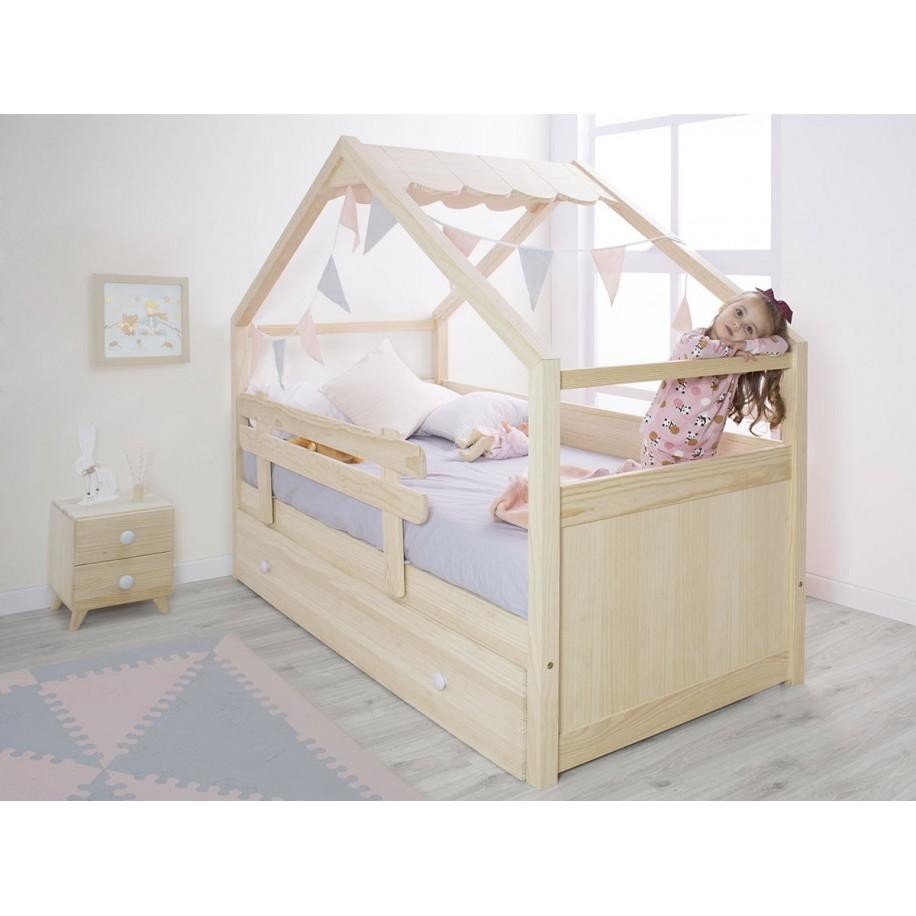 Chambre avec Table de chevet Piccolo 2 tiroirs en bois naturel