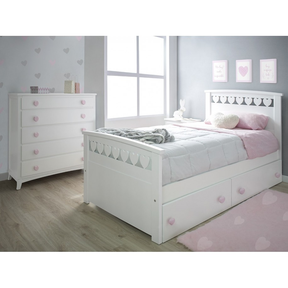 Chambre enfant Cœurs avec lit avec rangement