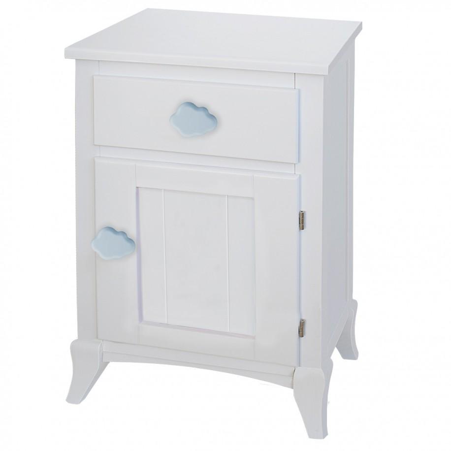 Table de chevet enfant avec porte nuage bleu