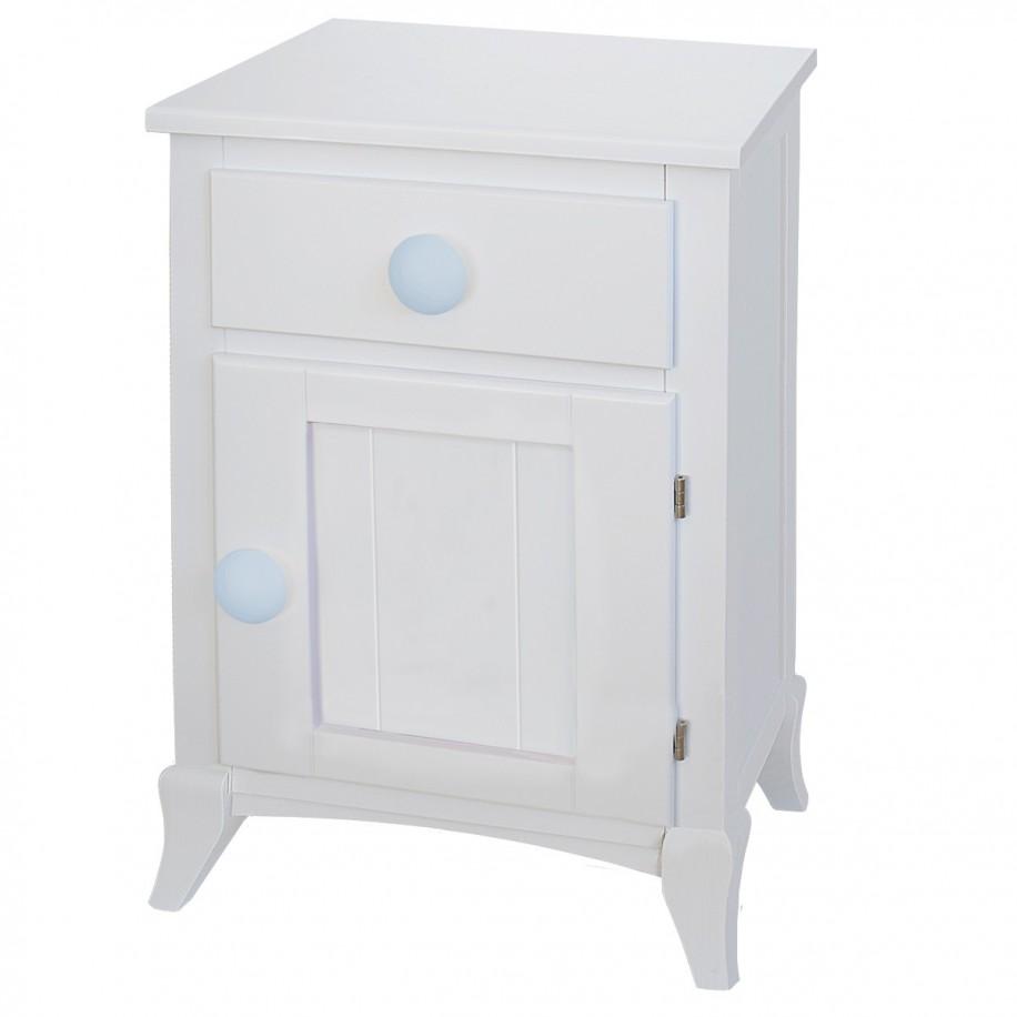Table de chevet enfant avec porte rond bleu