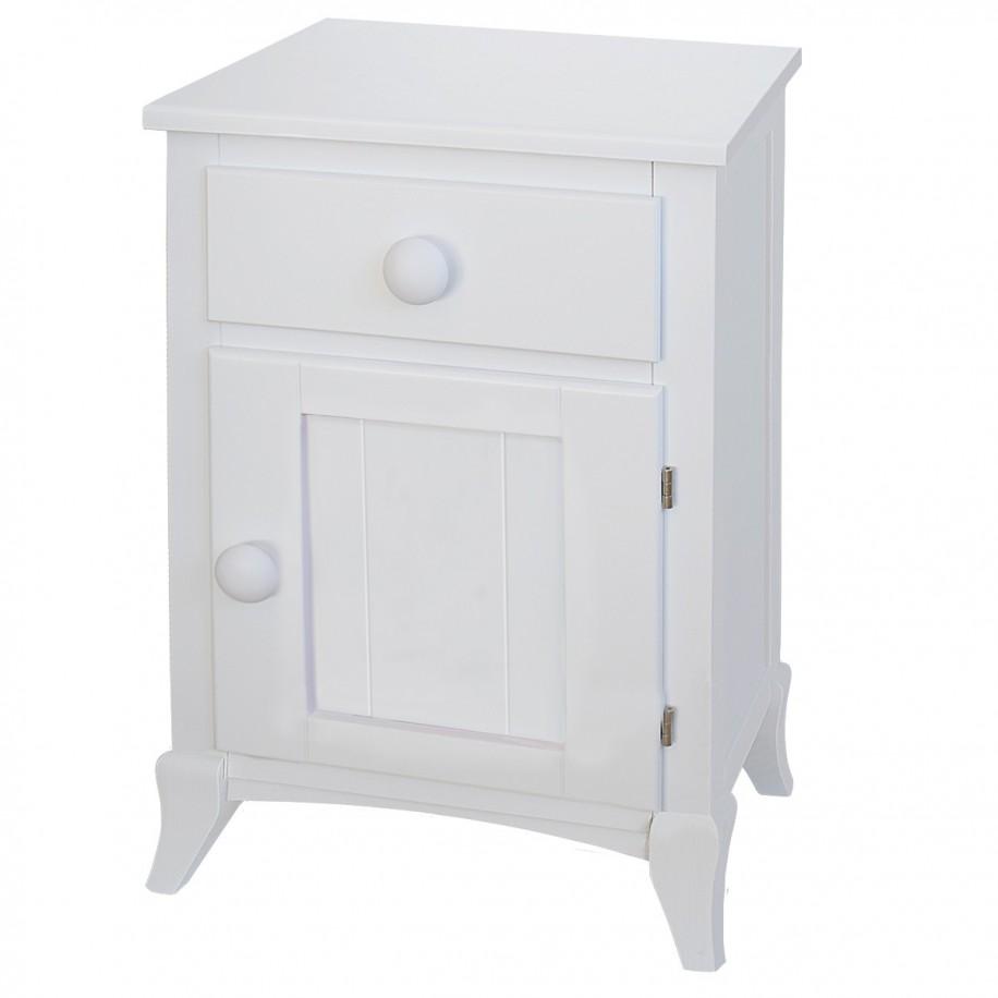 Table de chevet enfant avec porte rond blanc