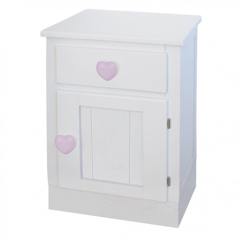 Table de chevet enfant avec porte Socle chambre coeur rose