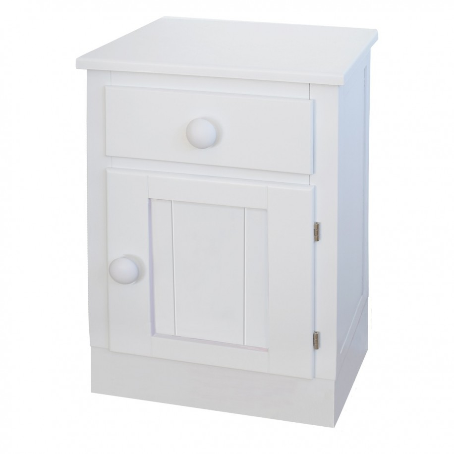 Table de chevet enfant avec porte Socle chambre rond blanc