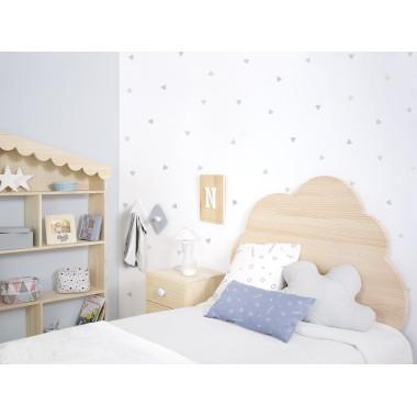 Tête de lit enfant Nuage avec lumière en bois naturel