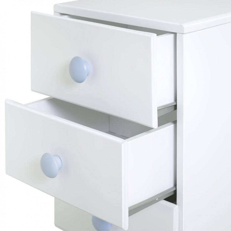 Détail coulisses de la table de chevet enfant avec 3 tiroirs Piccolo