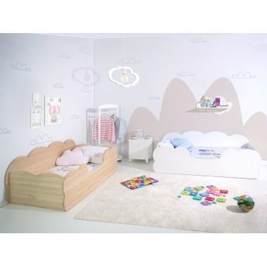 Chambre enfant double Montessori Nuage en blanc et en bois