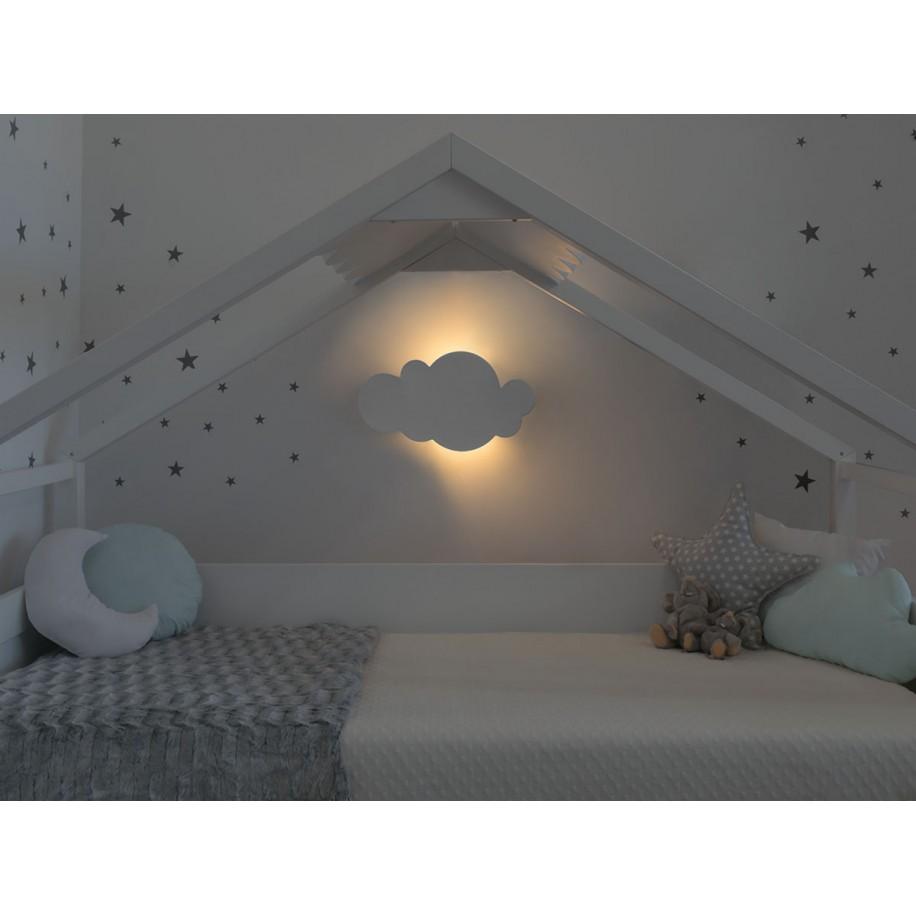 Applique murale enfant Nuage allumée et lit cabane toit