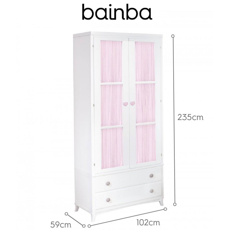 Dimensions Armoire 2 portes avec rideau rose et tiroirs sur pieds
