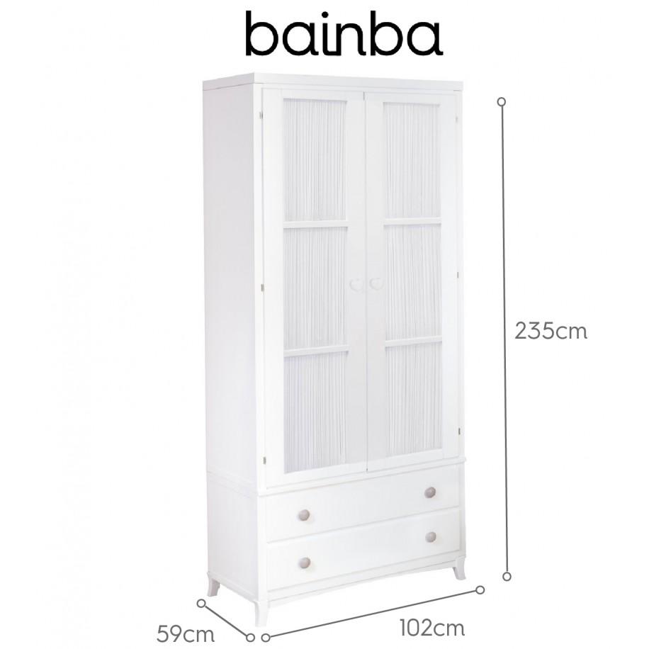 Dimensions Armoire 2 portes avec rideau blanc et tiroirs sur pieds