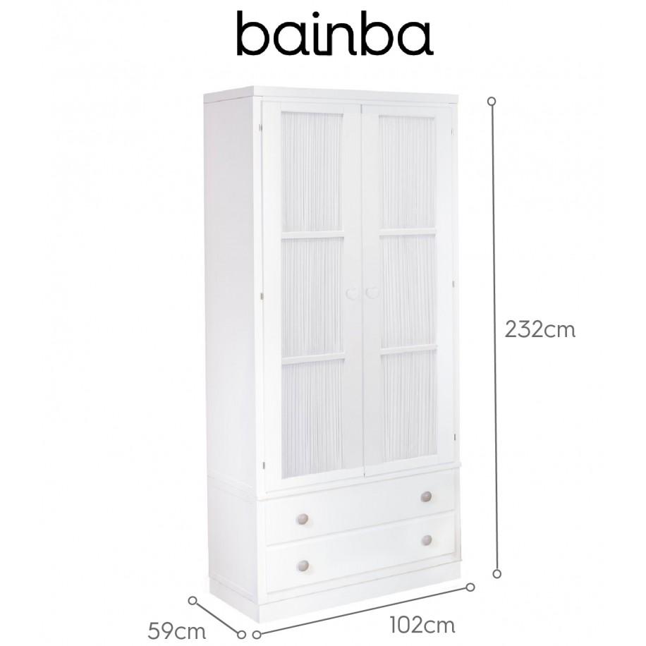 Dimensions Armoire 2 portes avec rideau blanc et tiroirs sur socle