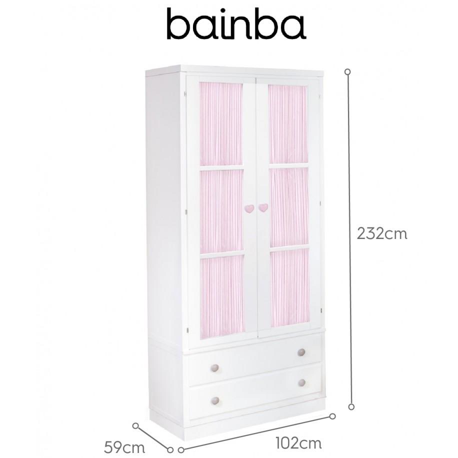 Dimensions Armoire 2 portes avec rideau rose et tiroirs sur socle