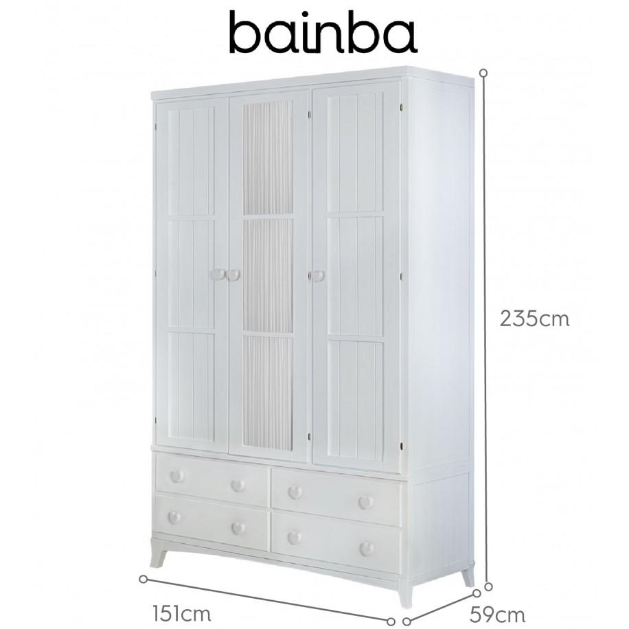 Dimensions armoire 3 portes et rideau blanc avec tiroirs sur pieds