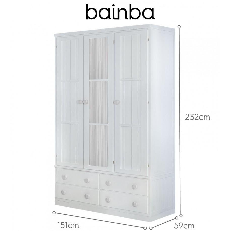 Dimensions armoire 3 portes et rideau blanc avec tiroirs sur socle