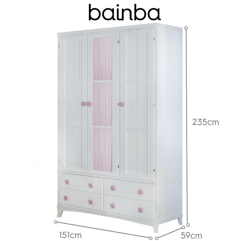 Dimensions armoire 3 portes et rideau rose avec tiroirs sur pieds