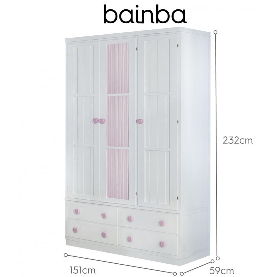 Dimensions armoire 3 portes et rideau rose avec tiroirs sur socle