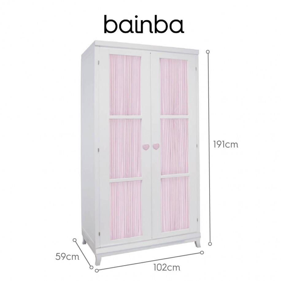 Dimensions armoire portes avec rideau rose sur pieds