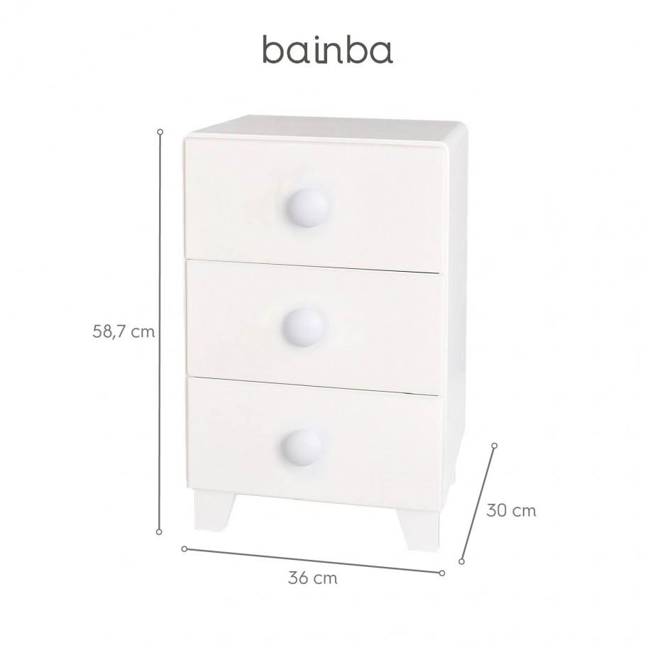 Dimensions table de chevet enfant avec 3 tiroirs Piccolo