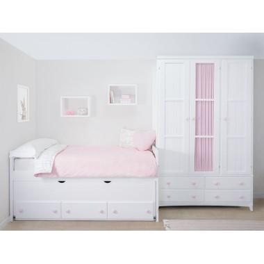 Chambre pour filles avec lit gigogne avec rangement Linéaire Armoire