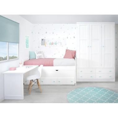 Chambre enfant avec lit 2 couchages et rangement Linéaire