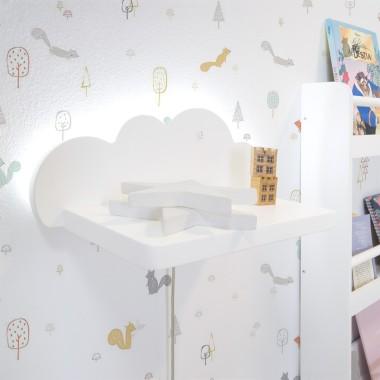 Etagère murale enfant Nuage avec Lumière